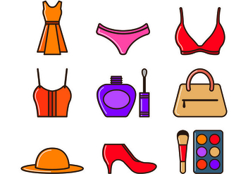 Set Of Woman Equipment Icons - vector #443691 gratis