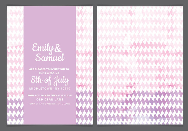 Vector Pink Watercolor Wedding Invite - Kostenloses vector #443881
