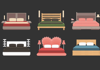 Headboard With Bed Vector Collection - Free vector #443901
