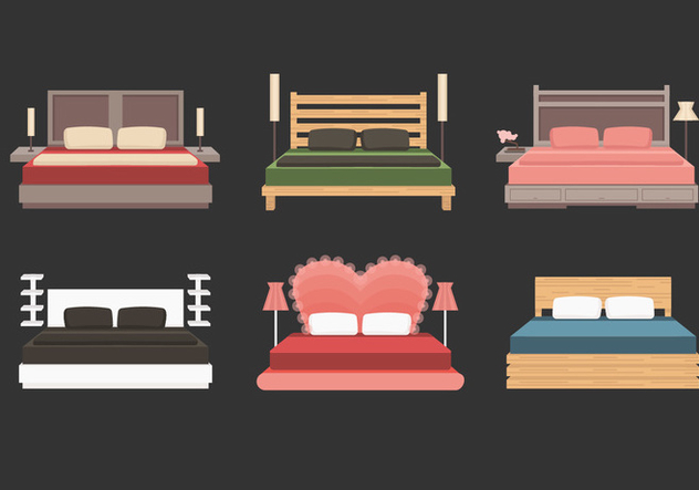 Headboard With Bed Vector Collection - vector #443901 gratis