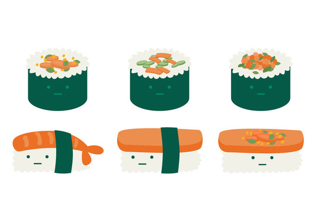 Cute Temaki Collection - бесплатный vector #443911