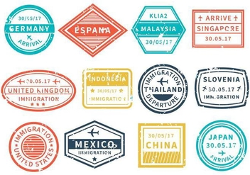 Free Travel Around World Stamp Vector - бесплатный vector #443971