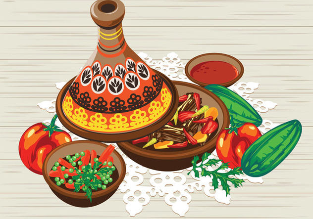 Vegetable Tajine with Chicken and Tomato Sauce - Free vector #443991