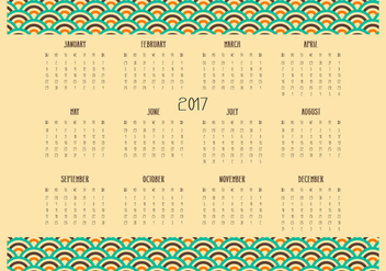 Retro Desktop 2017 Calendar Illustration - Free vector #444031
