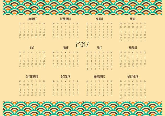 Retro Desktop 2017 Calendar Illustration - Kostenloses vector #444031