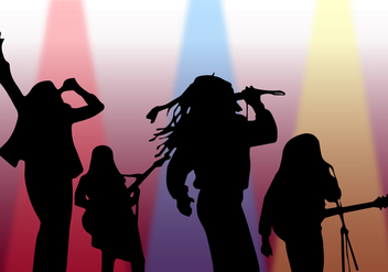 Silhouette Singer On Stage Vector - vector gratuit #444101