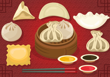 Set Of Delicious Dumplings - vector gratuit #444111