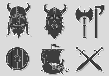 Flat Sticker Viking Set - Free vector #444141
