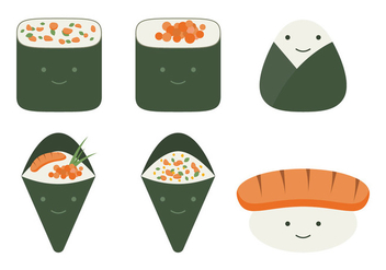 Cute Temaki Collection - бесплатный vector #444151