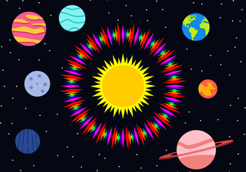 Flat Planets Free Vector - Kostenloses vector #444171