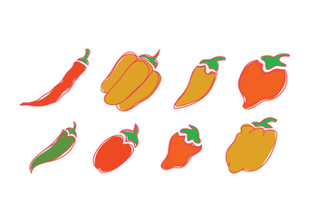 Vector icons of habanero - Free vector #444221