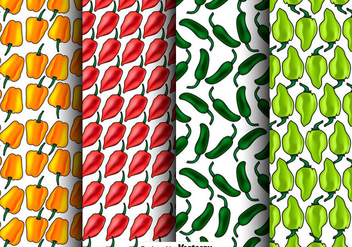 Vector Set Of Seamless Habanero Peppers Patterns - бесплатный vector #444241
