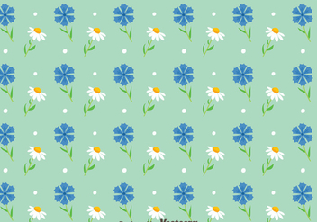 Blubonnet And Camomile Flowers Pattern Vector - Free vector #444301
