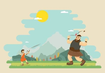 Free David Fighting With Goliath Illustration - vector gratuit #444331