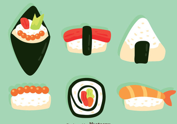 Japanese Food Collection Vectors - бесплатный vector #444341