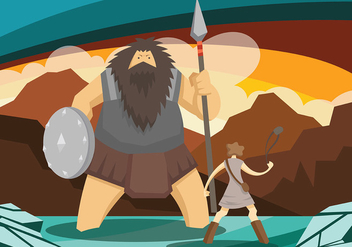 David and Goliath Vector Background - vector gratuit #444351