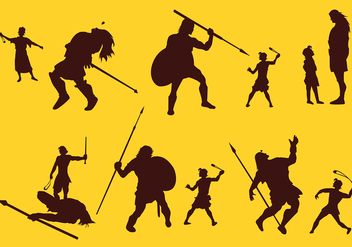 David And Goliath Silhouette Story Free Vector - бесплатный vector #444401