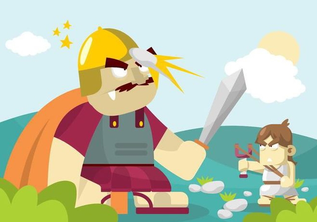 David and Goliath Illustration - vector gratuit #444411