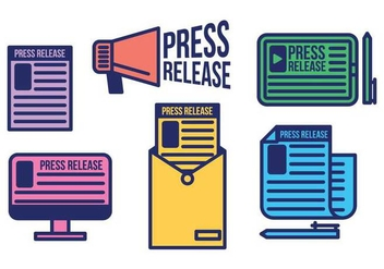 Press release vector icon set - vector gratuit #444521