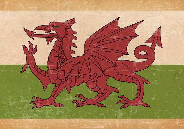 Old Grunge Flag of Wales - vector gratuit #444581