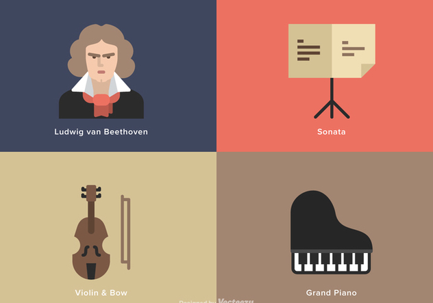 Beethoven Music Flat Vector Icons - бесплатный vector #444601