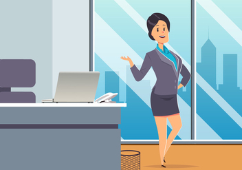 Business Woman At Office Vector - Free vector #444631