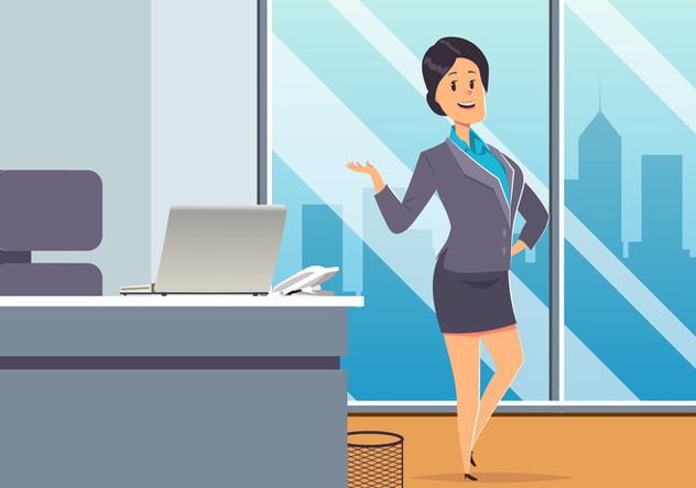 Business Woman At Office Vector - vector gratuit #444631