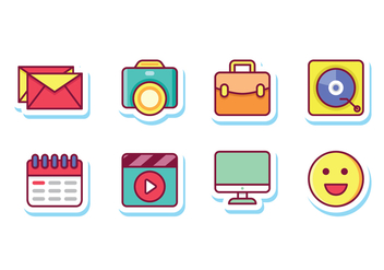 Social Media Sticker Icons - vector gratuit #444661