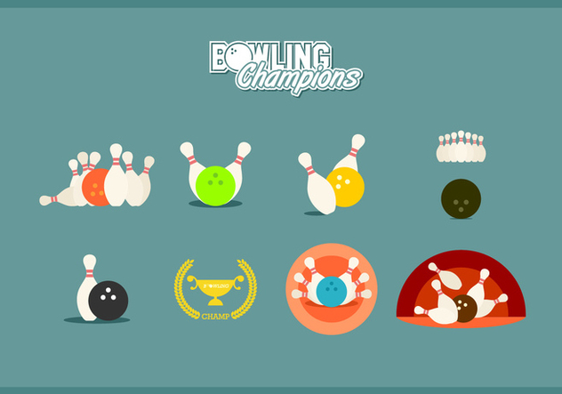 Flache Bowling Champions Free Vector - Kostenloses vector #444701