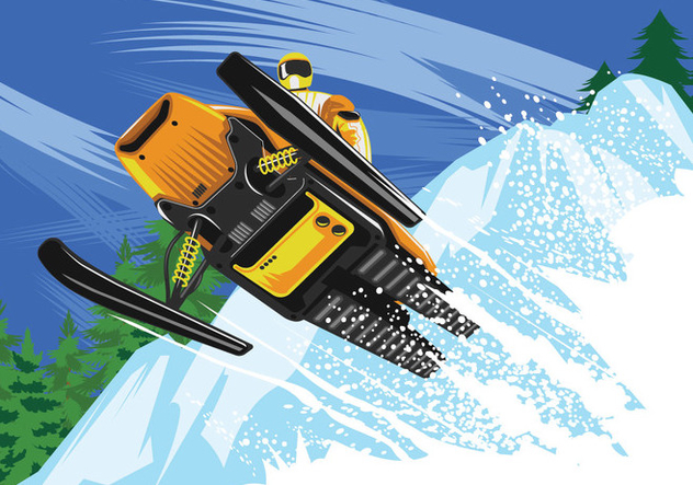 Athlete on a Snowmobile - Free vector #444711