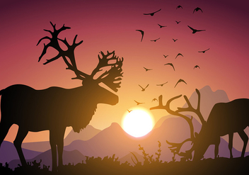 Caribou Sunset Free Vector - Free vector #444931