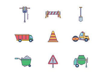 Road Construction Icons - Free vector #444951