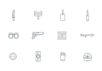 Outline Military Icons - бесплатный vector #445071
