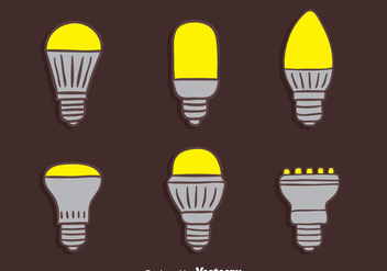 Hand Drawn Led Light Lamp Collection Vectors - Free vector #445081
