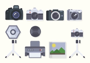 Flat Camera Equipment Vectors - бесплатный vector #445091