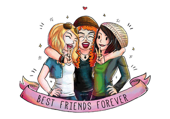 Three Cute Happy Friends Together Vector - Free vector #445121