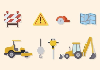 Flat Road Construction Vectors - vector gratuit #445221