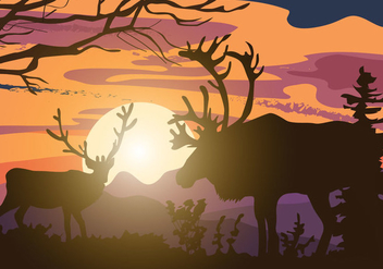 Caribou Silhouette Vector - Free vector #445251