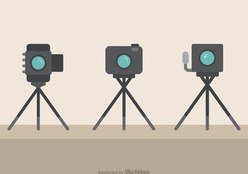 Cameras On Tripods Flat Vector Icons - Free vector #445271