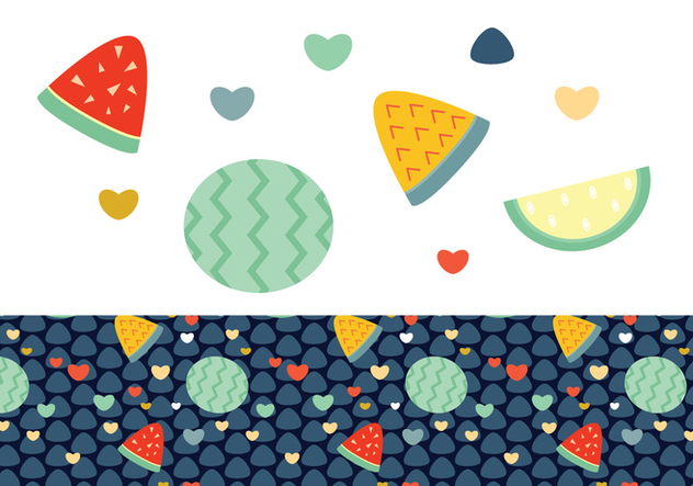 Pastèque ditsy Background Vector - vector gratuit #445321