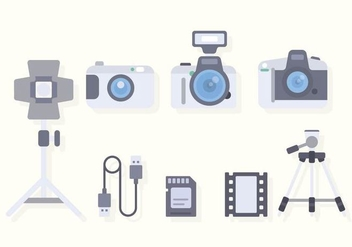 Flat Camera Equipment Vectors - бесплатный vector #445331