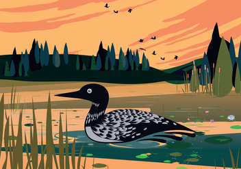Loon Swimming In Lake Vector Background Illustration - Free vector #445411