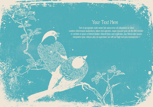 Vintage Bird Text Template - vector gratuit #445511