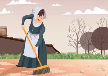 Maid Sweeping Patio Vector - Free vector #445551