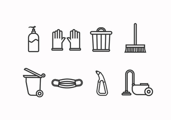 Cleaning tools set icon - Free vector #445641