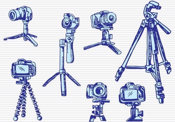 Camera Tripod Sketch Drawing Style - vector gratuit #445681
