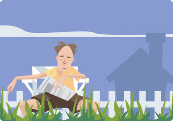Old Man Sleeping in a Lawn Chair Vector - Kostenloses vector #445691