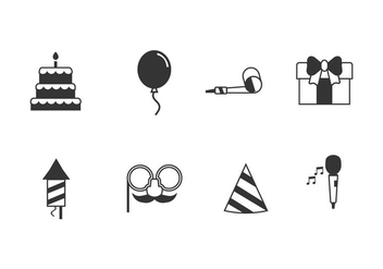 Birthday party set icons - vector gratuit #445761