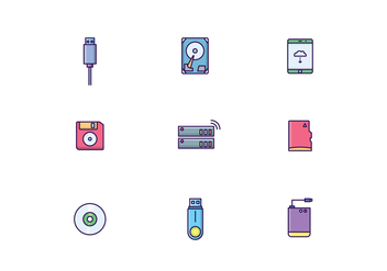 Storage Devices Icons - vector gratuit #445771