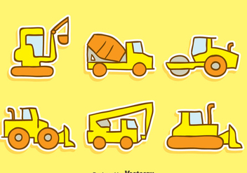 Hand Drawn Construction Machine Vectors - vector gratuit #445821